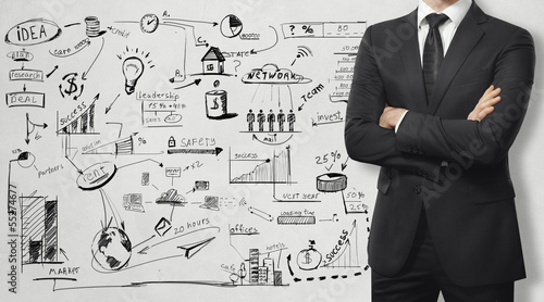 man in the suit and business strategy on the wall