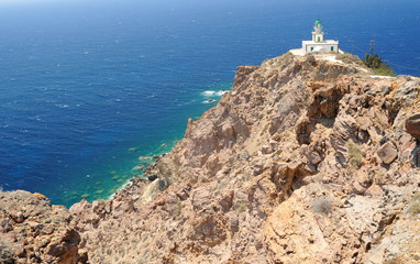 Famous lighthouse of Faros on Santorini