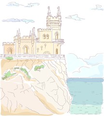 Old medieval castle. Vector hand drawn watercolor illustration