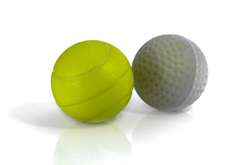 Tennis & golf ball on white background