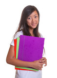 Smiling asian woman with her paperwork