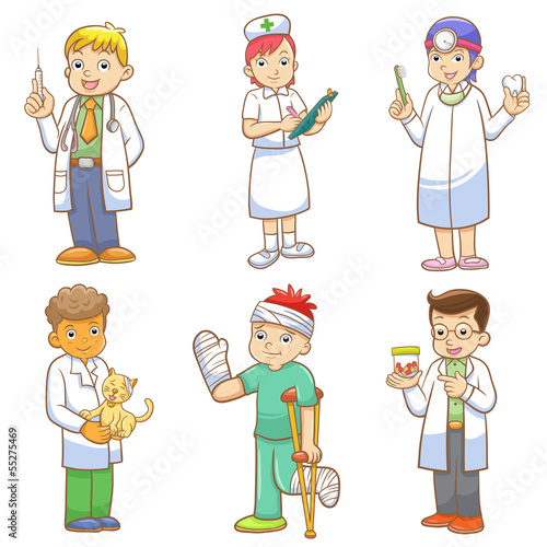 Doctor and Medical person cartoon set