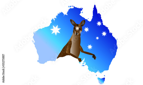 Australia Map With Kangaroo