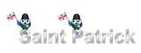 Saint Patrick text and patriotic bird waving flag