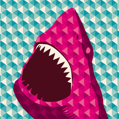 Geometric background with shark.