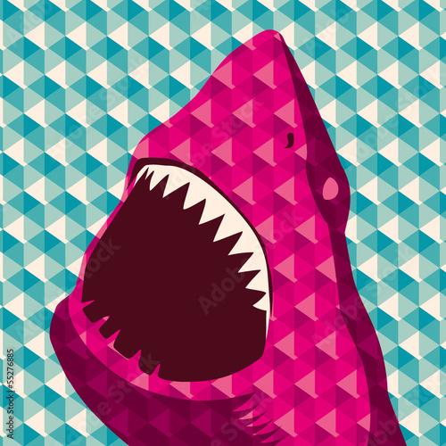 Plakat Geometryczne tło z rekina.
