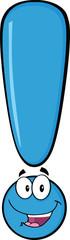 Happy Blue Exclamation Mark Cartoon Character