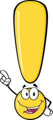Yellow Exclamation Mark Cartoon Character Pointing With Finger