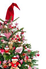 Tannenbaum in Rot und Grün geschmückt zu Weihnachten