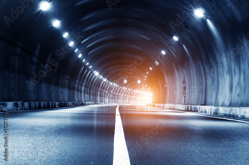 Foto op Aluminium Tunnel Abstract car in the tunnel trajectory