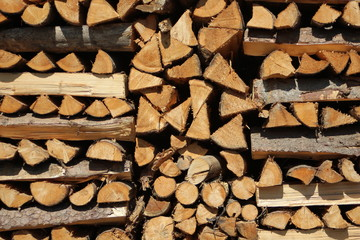 Close up on orderly placed pile of fire wood