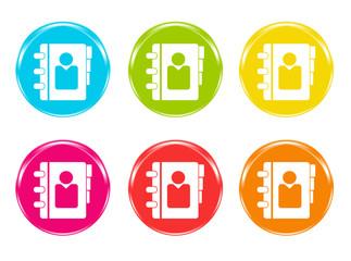 Iconos de colores con símbolo de agenda de contactos