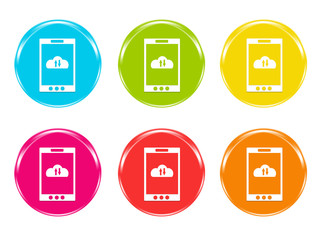 Iconos de colores con teléfono móvil con símbolo de la nube