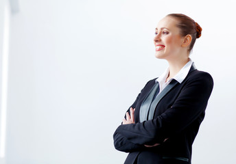 Attractive businesswoman in black suit