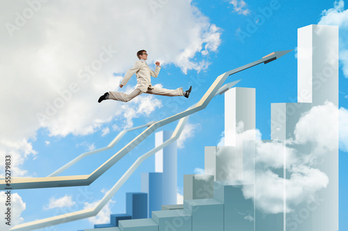 Businessman jumping