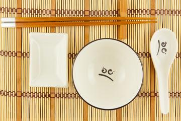 set de table en bambou et couverts chinois