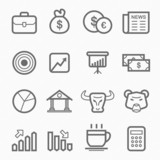 stock and market symbol line icon set