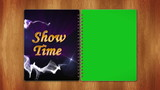 Show Time Text in Book, Loop, With Green Screen