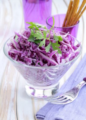 coleslaw salad of red cabbage with parsley and mayonnaise