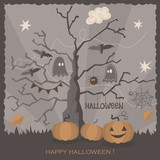 Halloween holiday greeting card design. Vector illustration