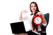 Woman with red clock. Time management concept.
