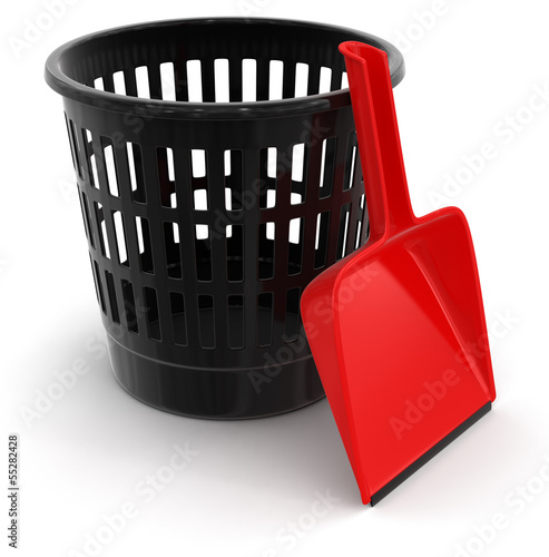 garbage basket and dustpan (clipping path included)