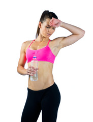 woman athlete with water bottle
