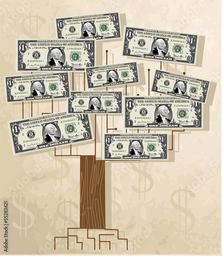 Tree with dollars, vintage vector background