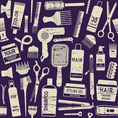 Hair styling related vector seamless pattern background 1