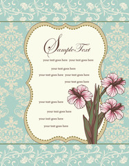 damask floral invitation card