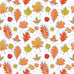 Autumn leaves colorful seamless pattern