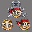 Evil Pirate Captain Laughing - Vector Cartoon Illustration
