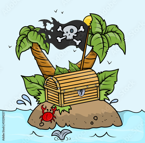 Treasure Island in Sea - Vector Cartoon Illustration