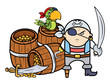 Pirate Captain with Treasure and Parrot - Vector Illustration
