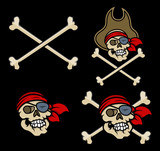 Captain Pirates Skull - Vector Cartoon Illustration