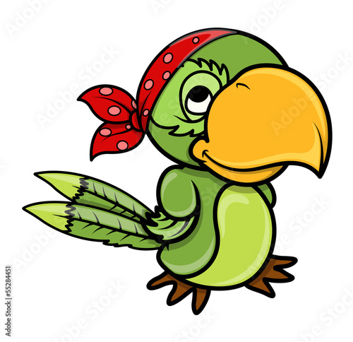 Pirate Parrot - Vector Cartoon Illustration