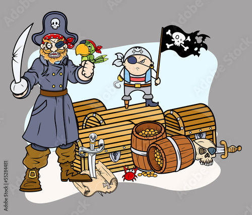 Pirate Captain Black and Team with Treasure - Vector Characters