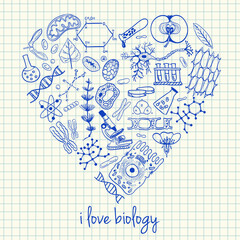 Biology drawings in heart shape
