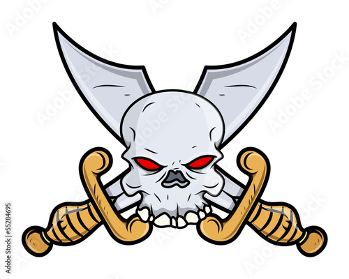 Crossed Sword Skull Tattoo - Vector Cartoon Illustration