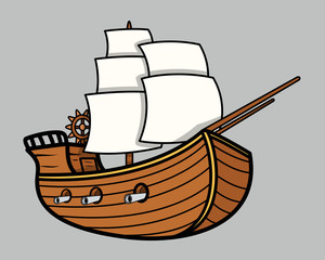 Old Vikings Vintage Ship - Vector Cartoon Illustration