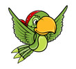 Flying Parrot - Vector Cartoon Illustration