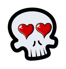 Skull with Heart in Eyes - Vector Cartoon Illustration
