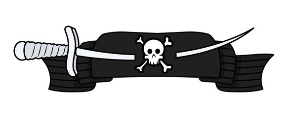 Pirate Banner with Sword - Vector Cartoon Illustration