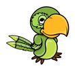 Green Parrot - Vector Cartoon Illustration