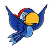 Pirate Blue Parrot - Vector Cartoon Illustration
