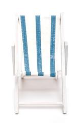 Liegestuhl mit blau weissen Streifen
