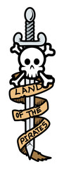 Land of The Pirates Banner Sword and Skull - Vector Illustration