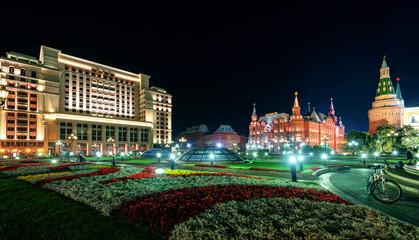 Manezhnaya Square at night in Moscow