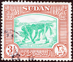 Nuba wrestlers (Sudan 1951)