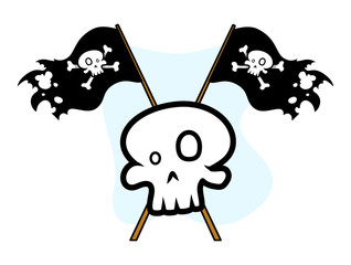 Crossed Jolly Roger Flag with Skull - Vector Illustration